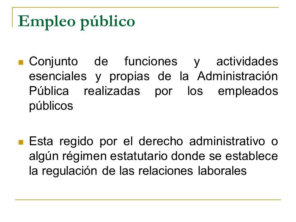 Empleo público Conjunto de funciones y actividades esenciales y propias de la Administración Pública realizadas por los empleados públicos Esta regido