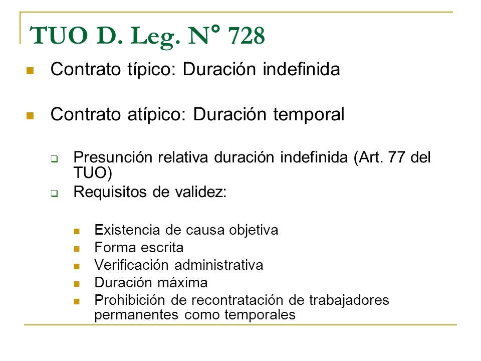 TUO D. Leg. N° 728 Contrato típico: Duración indefinida Contrato atípico: Duración temporal Presunción relativa duración indefinida (Art. 77 del TUO)