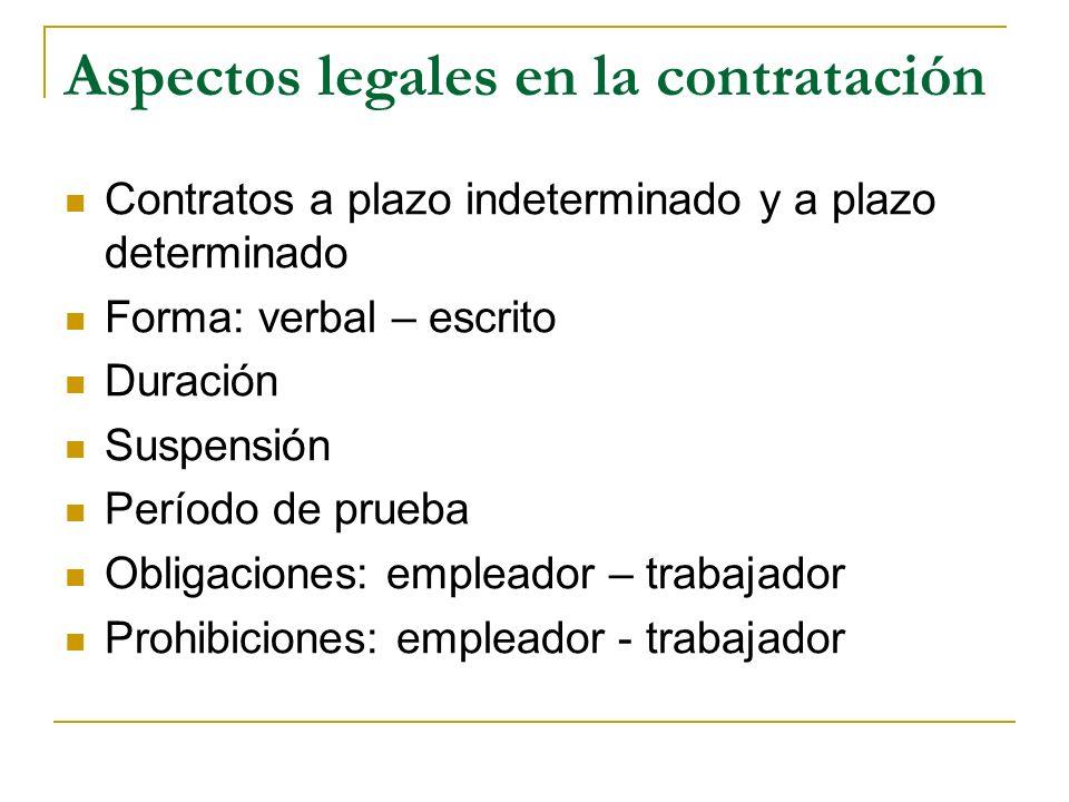 Aspectos legales en la contratación Contratos a plazo indeterminado y a plazo determinado Forma: verbal – escrito Duración Suspensión Período de prueba Obligaciones: empleador – trabajador Prohibiciones: empleador - trabajador