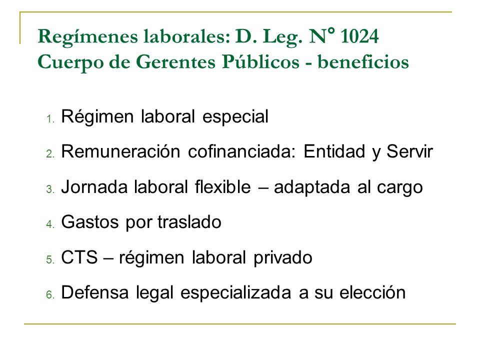 Regímenes laborales: D. Leg. N° 1024 Cuerpo de Gerentes Públicos - beneficios 1. Régimen laboral especial 2. Remuneración cofinanciada: Entidad y Serv