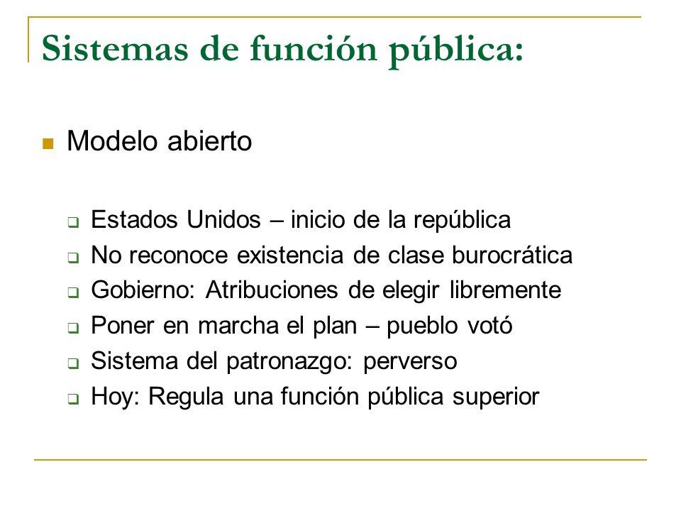 Sistemas de función pública: Modelo abierto Estados Unidos – inicio de la república No reconoce existencia de clase burocrática Gobierno: Atribuciones