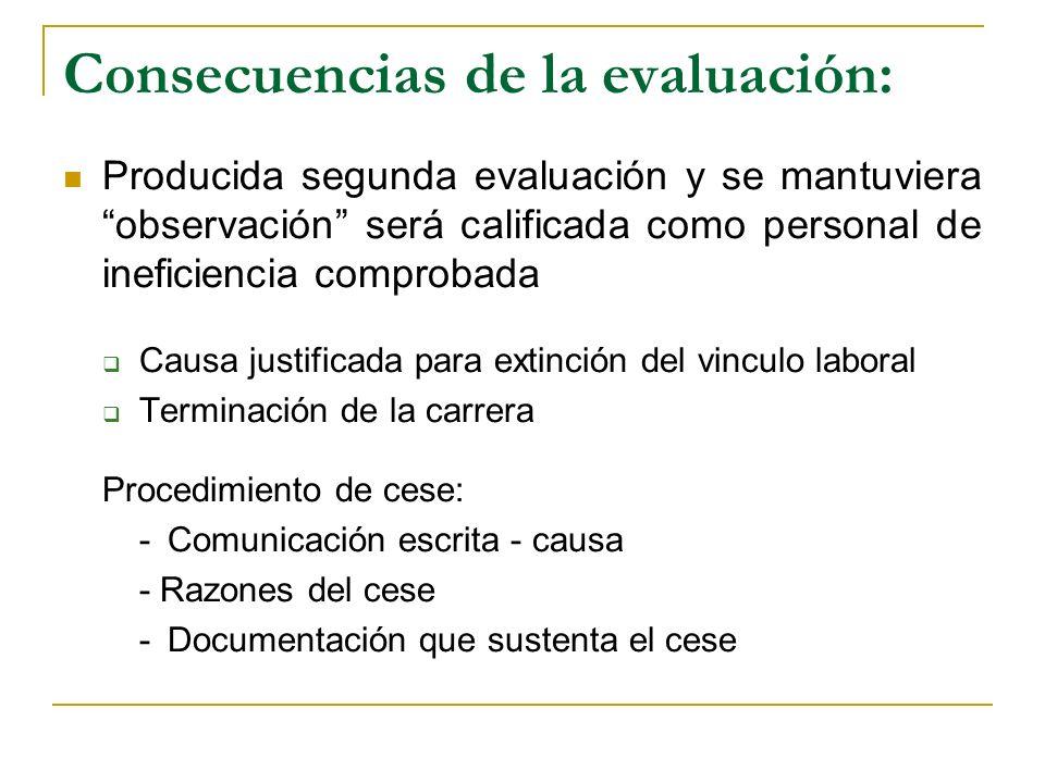 Consecuencias de la evaluación: Producida segunda evaluación y se mantuviera observación será calificada como personal de ineficiencia comprobada Caus