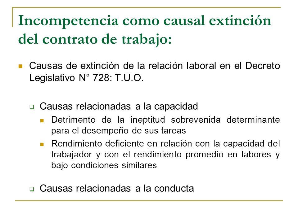 Incompetencia como causal extinción del contrato de trabajo: Causas de extinción de la relación laboral en el Decreto Legislativo N° 728: T.U.O. Causa