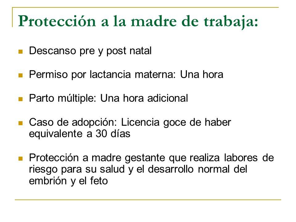 Protección a la madre de trabaja: Descanso pre y post natal Permiso por lactancia materna: Una hora Parto múltiple: Una hora adicional Caso de adopción: Licencia goce de haber equivalente a 30 días Protección a madre gestante que realiza labores de riesgo para su salud y el desarrollo normal del embrión y el feto