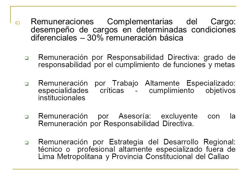 c) Remuneraciones Complementarias del Cargo: desempeño de cargos en determinadas condiciones diferenciales – 30% remuneración básica Remuneración por