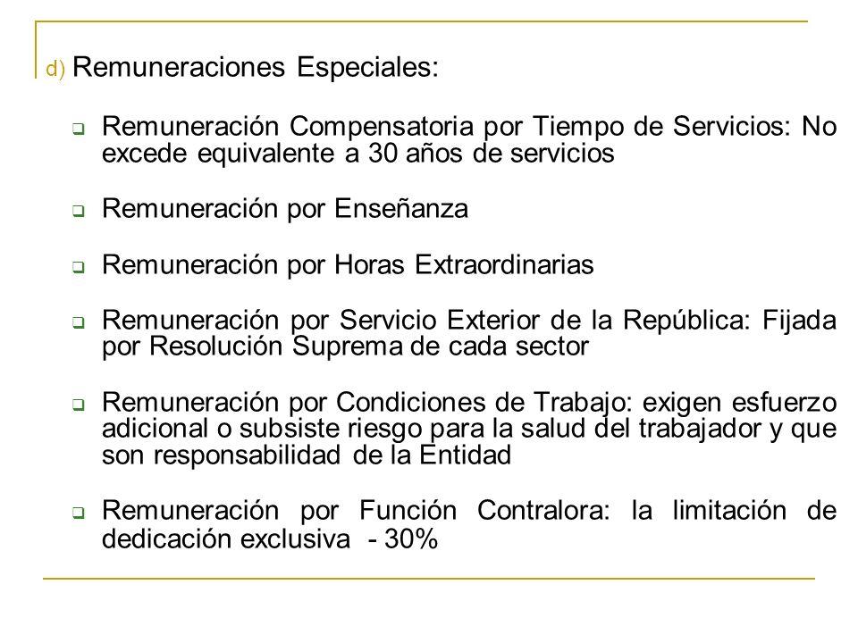 d) Remuneraciones Especiales: Remuneración Compensatoria por Tiempo de Servicios: No excede equivalente a 30 años de servicios Remuneración por Enseña