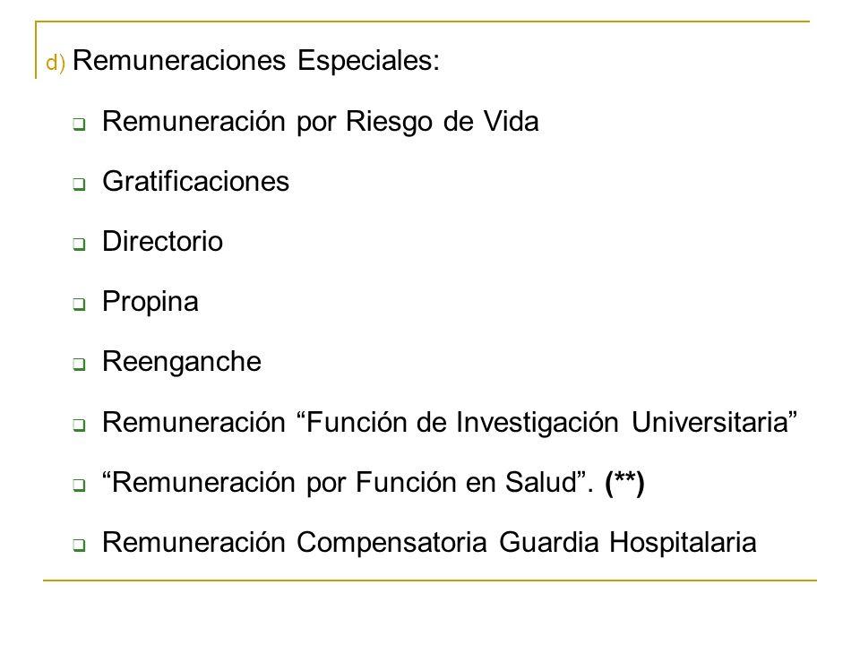 d) Remuneraciones Especiales: Remuneración por Riesgo de Vida Gratificaciones Directorio Propina Reenganche Remuneración Función de Investigación Universitaria Remuneración por Función en Salud.