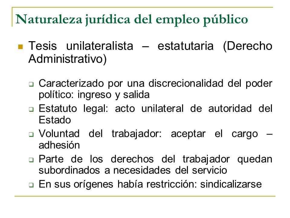 Naturaleza jurídica del empleo público Tesis unilateralista – estatutaria (Derecho Administrativo) Caracterizado por una discrecionalidad del poder po