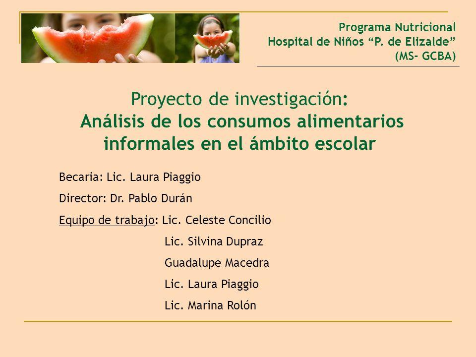 Proyecto de investigación: Análisis de los consumos alimentarios informales en el ámbito escolar Programa Nutricional Hospital de Niños P. de Elizalde