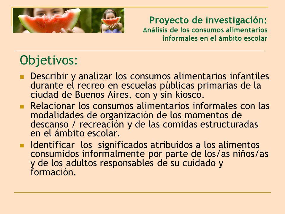 Objetivos: Describir y analizar los consumos alimentarios infantiles durante el recreo en escuelas públicas primarias de la ciudad de Buenos Aires, co