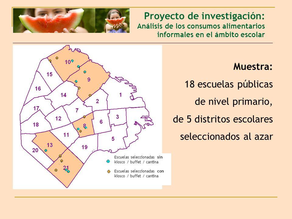 Muestra: 18 escuelas públicas de nivel primario, de 5 distritos escolares seleccionados al azar Proyecto de investigación: Análisis de los consumos al