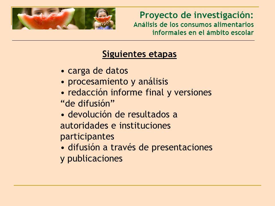 Siguientes etapas carga de datos procesamiento y análisis redacción informe final y versiones de difusión devolución de resultados a autoridades e instituciones participantes difusión a través de presentaciones y publicaciones Proyecto de investigación: Análisis de los consumos alimentarios informales en el ámbito escolar