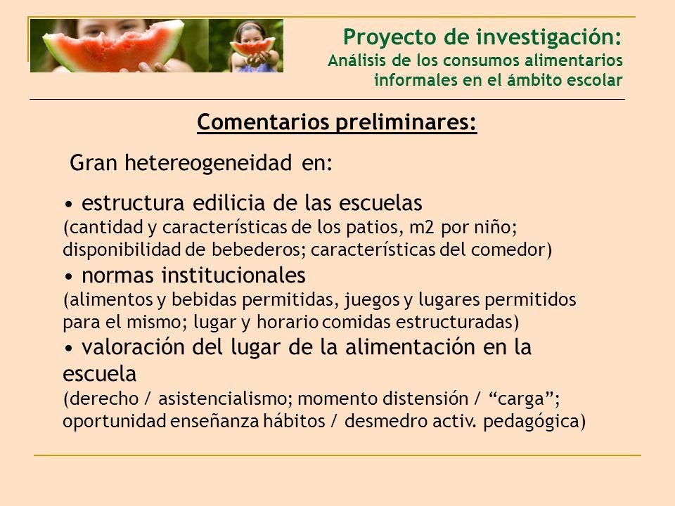 Comentarios preliminares: Gran hetereogeneidad en: estructura edilicia de las escuelas (cantidad y características de los patios, m2 por niño; disponi