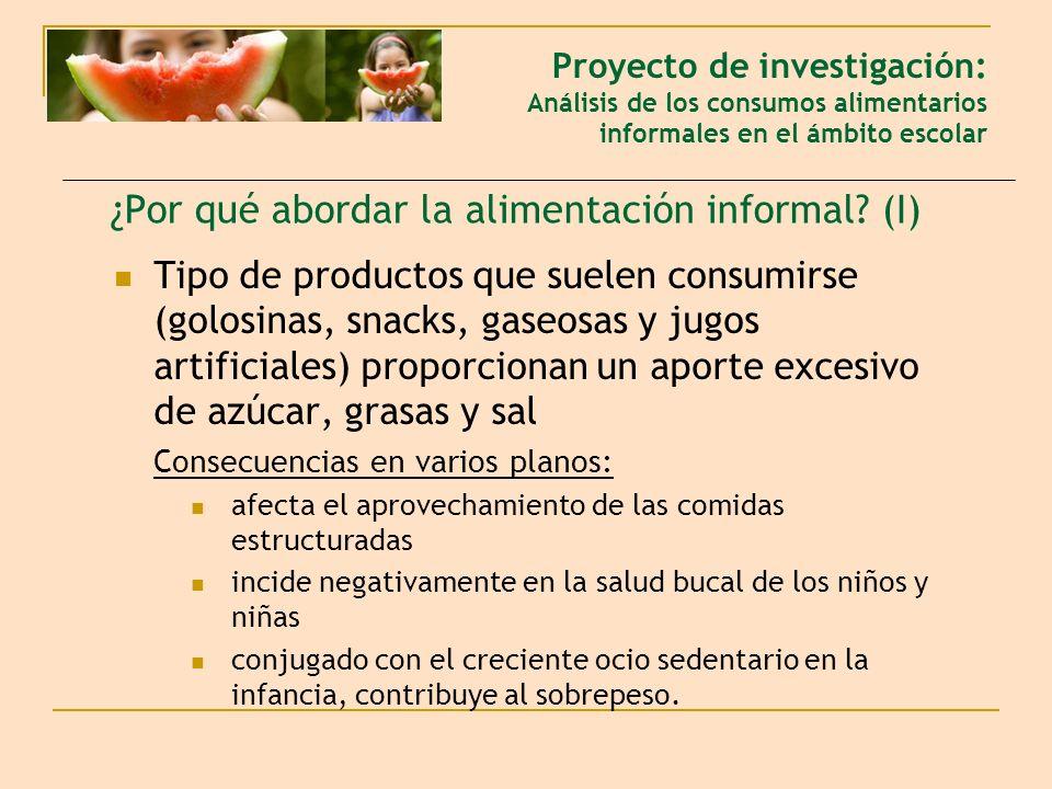 ¿Por qué abordar la alimentación informal? (I) Tipo de productos que suelen consumirse (golosinas, snacks, gaseosas y jugos artificiales) proporcionan