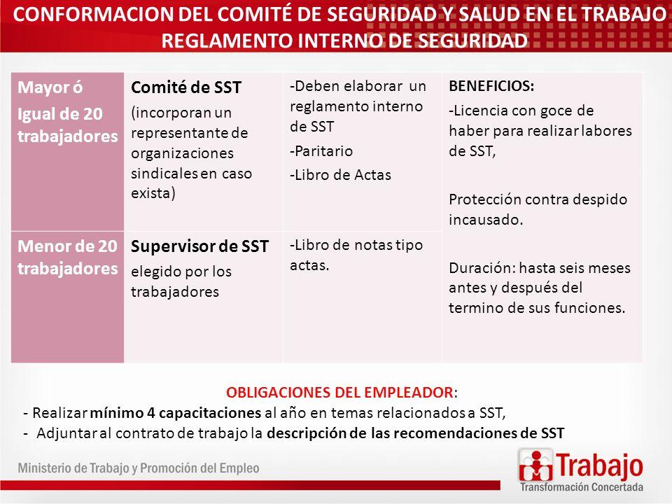 CONFORMACION DEL COMITÉ DE SEGURIDAD Y SALUD EN EL TRABAJO REGLAMENTO INTERNO DE SEGURIDAD Mayor ó Igual de 20 trabajadores Comité de SST (incorporan