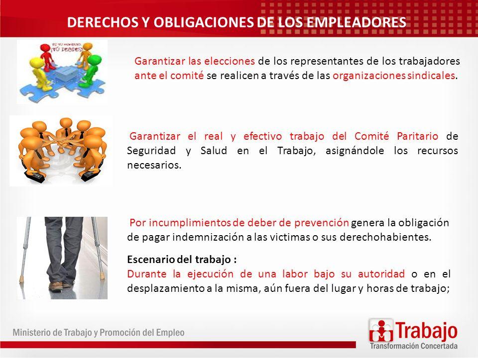 DERECHOS Y OBLIGACIONES DE LOS EMPLEADORES Garantizar las elecciones de los representantes de los trabajadores ante el comité se realicen a través de