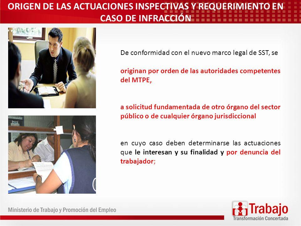 ORIGEN DE LAS ACTUACIONES INSPECTIVAS Y REQUERIMIENTO EN CASO DE INFRACCIÓN De conformidad con el nuevo marco legal de SST, se originan por orden de l