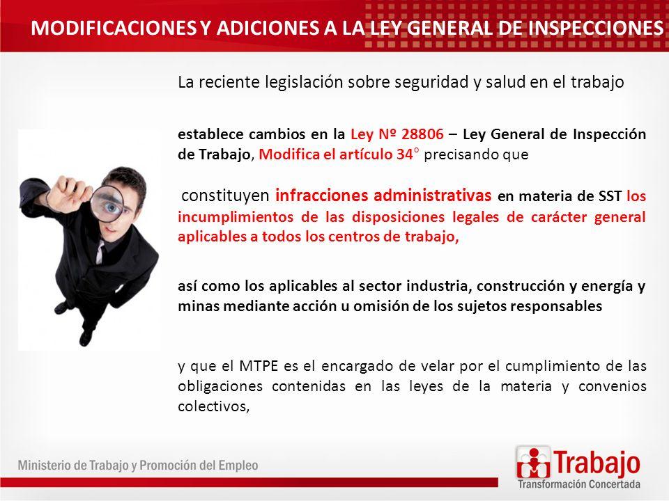MODIFICACIONES Y ADICIONES A LA LEY GENERAL DE INSPECCIONES La reciente legislación sobre seguridad y salud en el trabajo establece cambios en la Ley