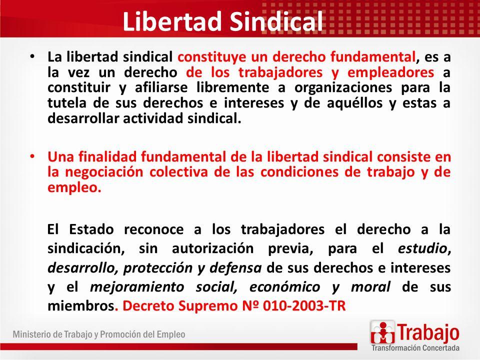 Libertad Sindical La libertad sindical constituye un derecho fundamental, es a la vez un derecho de los trabajadores y empleadores a constituir y afil