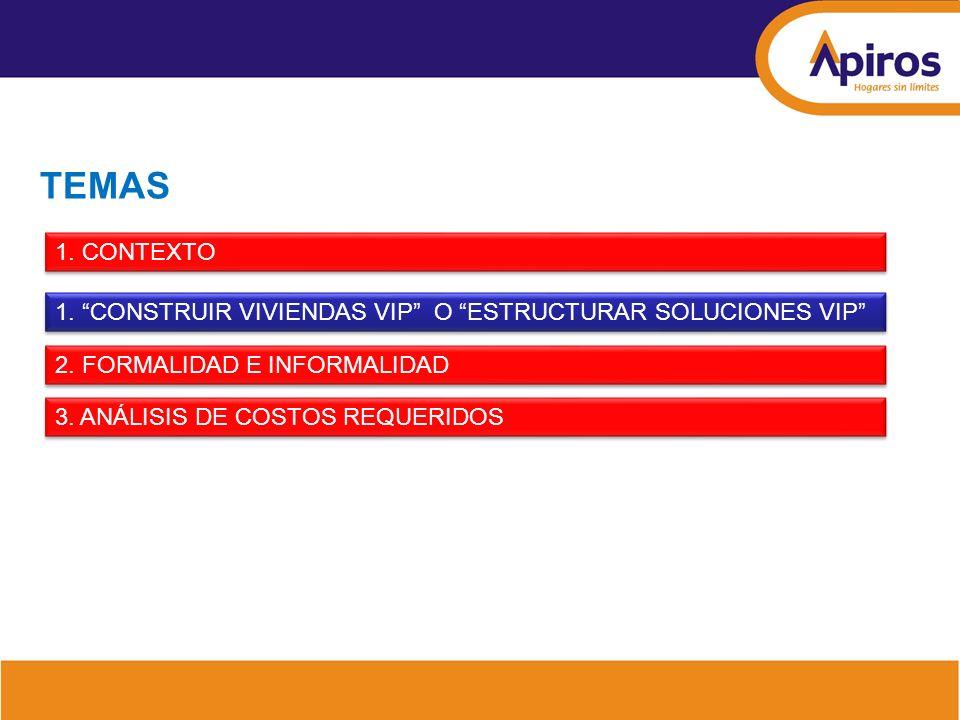 INFRAESTRUCTURA HABILITACION DE SERVICIOS PÚBLICOS Oferta: Implementación Local GENERACIÓN DE SUELO FINANCIACIÓN INDIVIDUAL PRODUCCIÓN VIVIENDA Demanda: Habilitación Nacional y Local Mercado VIS y VIP Escenario Local CICLO DE PRODUCCIÓN Y ESTRUCTURACION DE LA VIVIENDA VIP Y VIS Elaborado por: Julio Miguel Silva - Economía Urbana ESTRUCTURACIÓN TÉCNICA ESTRUCTURACIÓN COMERCIAL