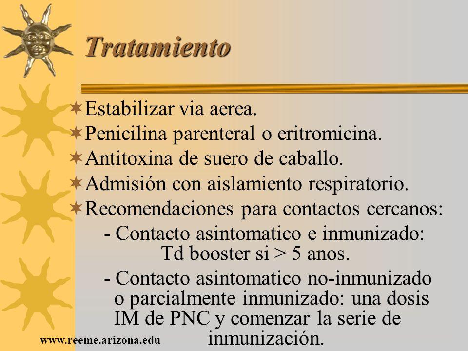 www.reeme.arizona.edu Tratamiento Estabilizar via aerea. Penicilina parenteral o eritromicina. Antitoxina de suero de caballo. Admisión con aislamient