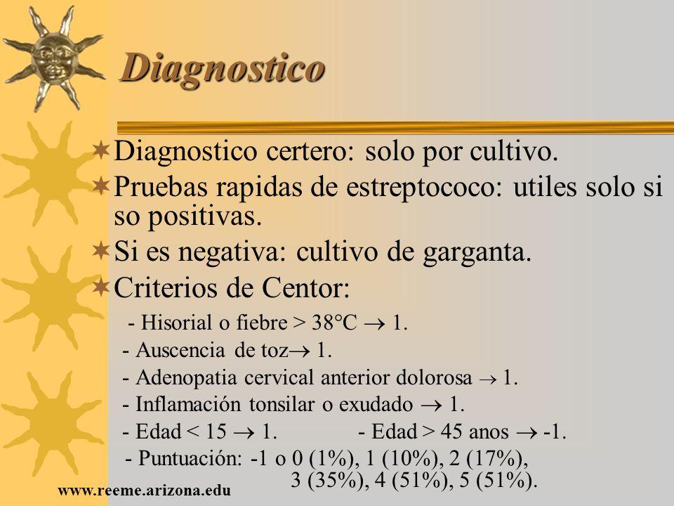 www.reeme.arizona.edu Diagnostico Diagnostico certero: solo por cultivo. Pruebas rapidas de estreptococo: utiles solo si so positivas. Si es negativa: