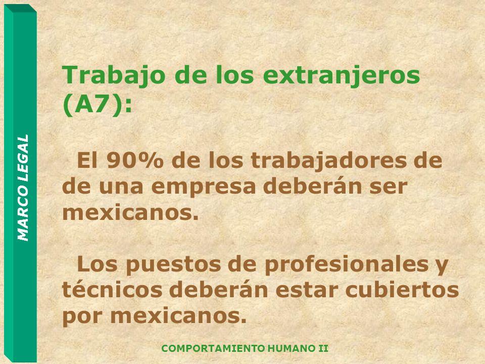 MARCO LEGAL COMPORTAMIENTO HUMANO II Trabajo de los extranjeros (A7): El 90% de los trabajadores de de una empresa deberán ser mexicanos. Los puestos