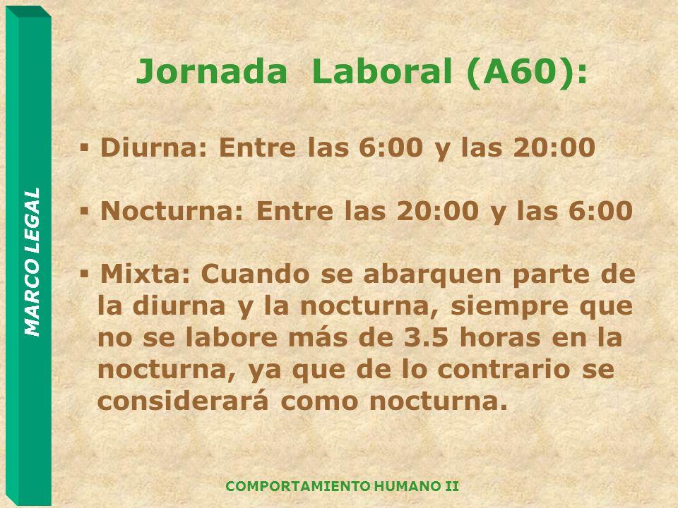 MARCO LEGAL COMPORTAMIENTO HUMANO II Jornada Laboral (A60): Diurna: Entre las 6:00 y las 20:00 Nocturna: Entre las 20:00 y las 6:00 Mixta: Cuando se a