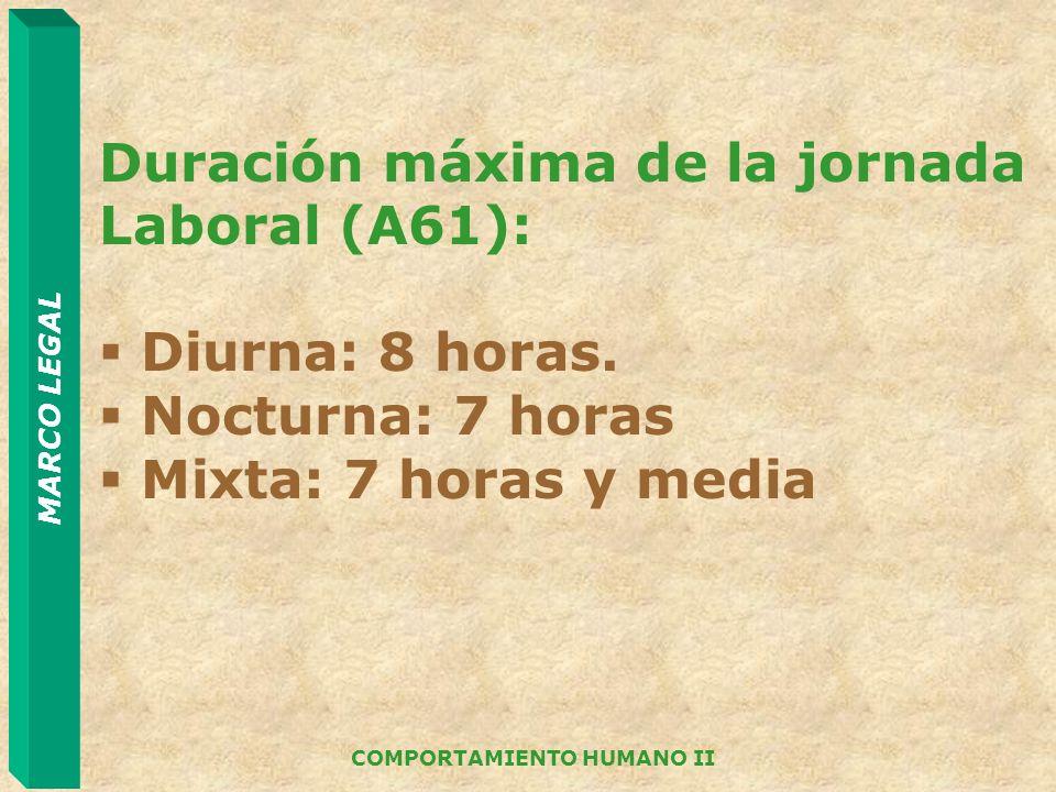 MARCO LEGAL COMPORTAMIENTO HUMANO II Duración máxima de la jornada Laboral (A61): Diurna: 8 horas. Nocturna: 7 horas Mixta: 7 horas y media