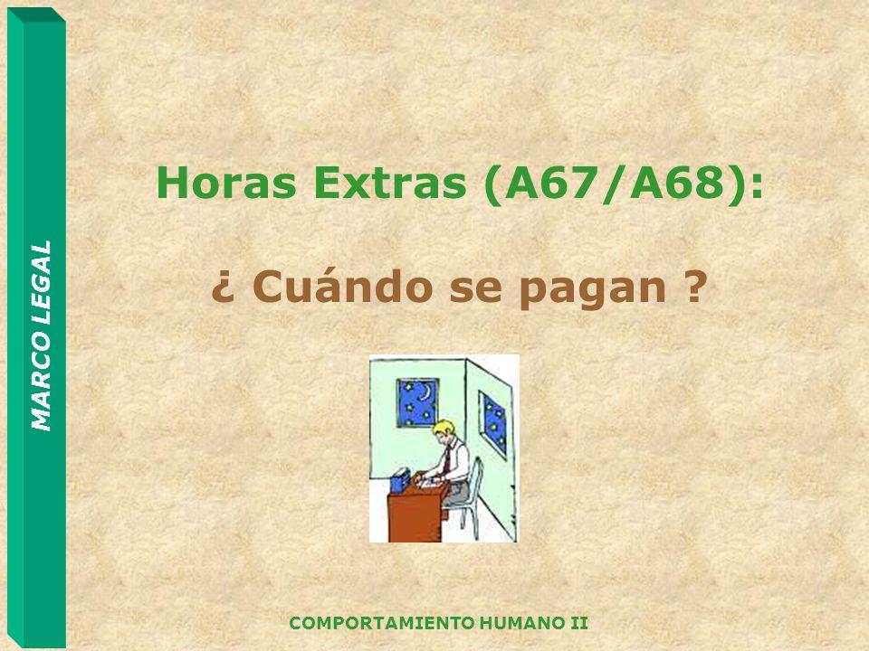 MARCO LEGAL COMPORTAMIENTO HUMANO II Horas Extras (A67/A68): ¿ Cuándo se pagan ?