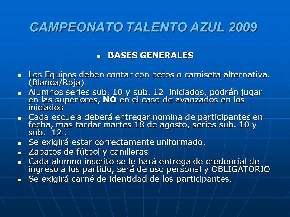 CAMPEONATO TALENTO AZUL 2009 SELECCION DE JUGADORES POR CATEGORIA: SELECCION DE JUGADORES POR CATEGORIA: Diplomas para todos los jugadores.