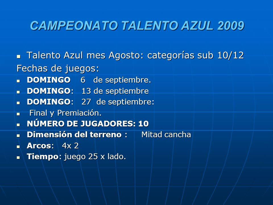 CAMPEONATO TALENTO AZUL 2009 Talento Azul mes Agosto: categorías sub 10/12 Talento Azul mes Agosto: categorías sub 10/12 Fechas de juegos: DOMINGO 6 de septiembre.