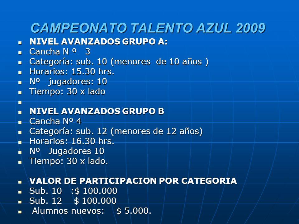 CAMPEONATO TALENTO AZUL 2009 CANCHA Nº 1 CANCHA Nº 1 NIVEL INICIADOS GRUPO A: NIVEL INICIADOS GRUPO A: Cancha Nº 1.