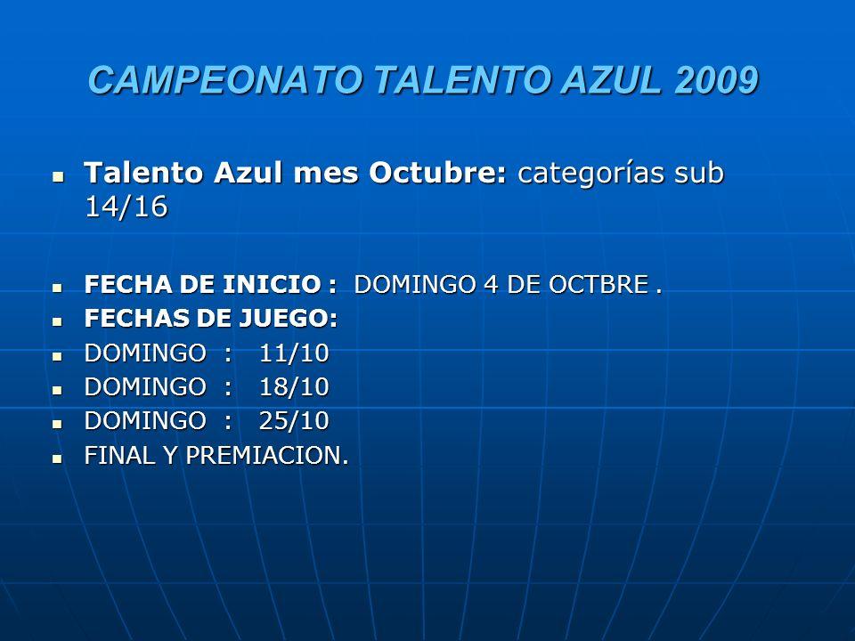 CAMPEONATO TALENTO AZUL 2009 Talento Azul mes Octubre: categorías sub 14/16 Talento Azul mes Octubre: categorías sub 14/16 FECHA DE INICIO : DOMINGO 4 DE OCTBRE.