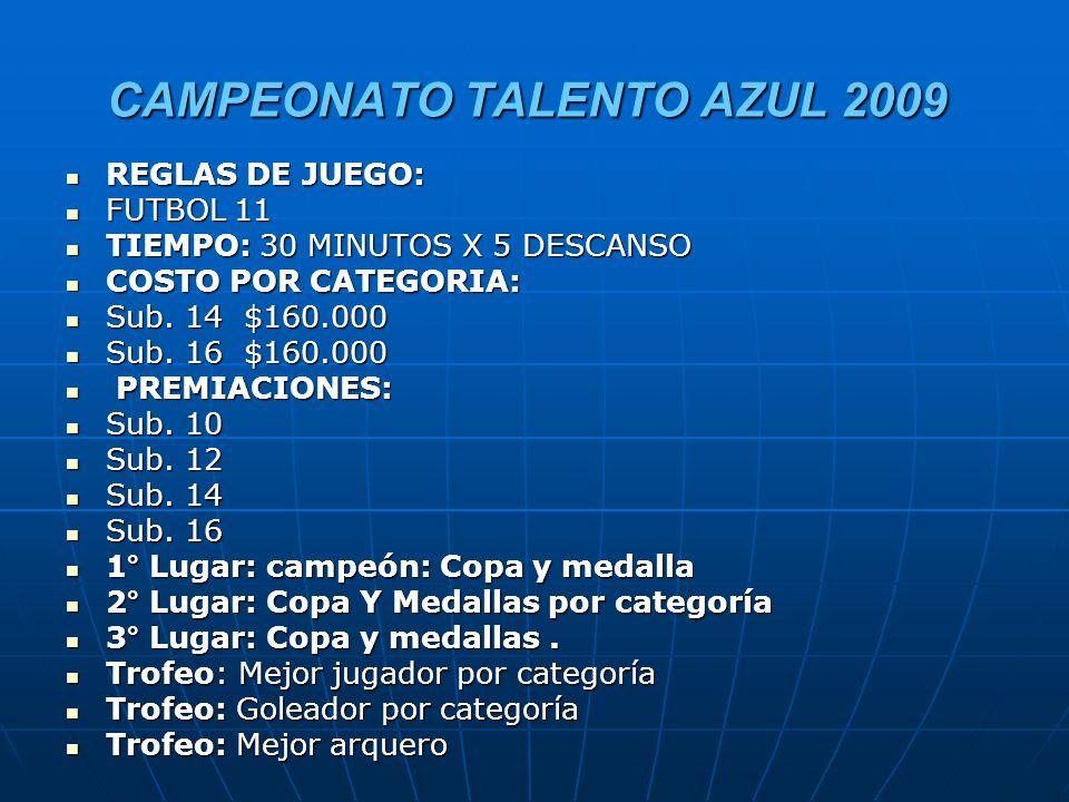 CAMPEONATO TALENTO AZUL 2009 CANCHA Nº 1 CANCHA Nº 1 Sub 14 Sub 14 Preliminar: 15.30 hrs.