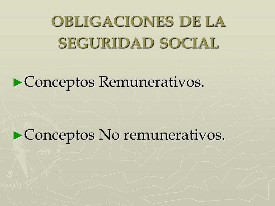 OBLIGACIONES DE LA SEGURIDAD SOCIAL Conceptos Remunerativos. Conceptos Remunerativos. Conceptos No remunerativos. Conceptos No remunerativos.