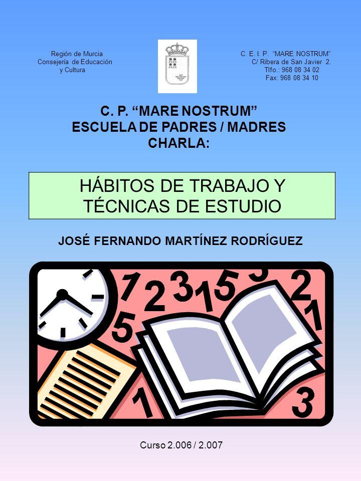 C. P. MARE NOSTRUM ESCUELA DE PADRES / MADRES CHARLA: HÁBITOS DE TRABAJO Y TÉCNICAS DE ESTUDIO Curso 2.006 / 2.007 Región de Murcia C. E. I. P. MARE N