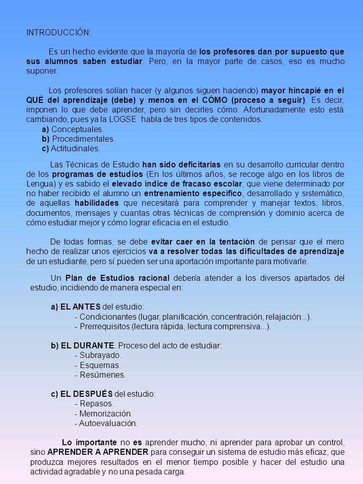 CONDICIONANTES PREVIOS DEL ESTUDIO: A.Actitud Ante el estudio: 1.Cuestionario: S.CS.AV.CN.