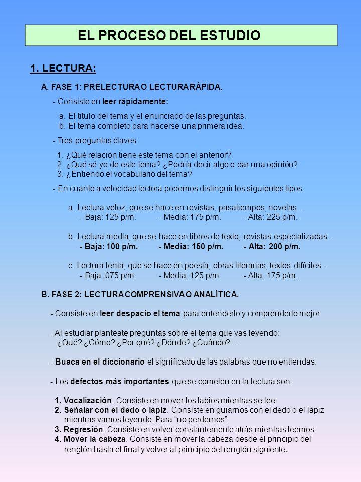 EL PROCESO DEL ESTUDIO 1.LECTURA: A. FASE 1: PRELECTURA O LECTURA RÁPIDA.