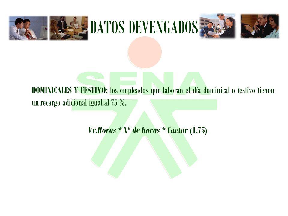DATOS DEVENGADOS DOMINICALES Y FESTIVO: los empleados que laboran el día dominical o festivo tienen un recargo adicional igual al 75 %. Vr.Horas * Nº