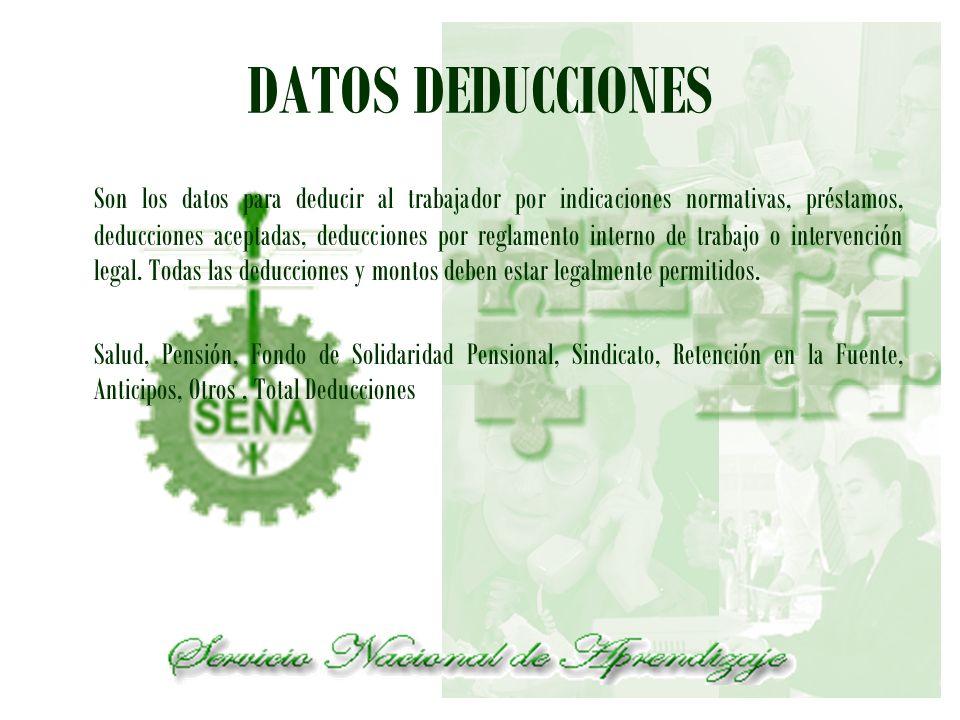 DATOS DEDUCCIONES Son los datos para deducir al trabajador por indicaciones normativas, préstamos, deducciones aceptadas, deducciones por reglamento i