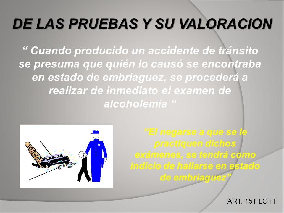 Cuando producido un accidente de tránsito se presuma que quién lo causó se encontraba en estado de embriaguez, se procederá a realizar de inmediato el