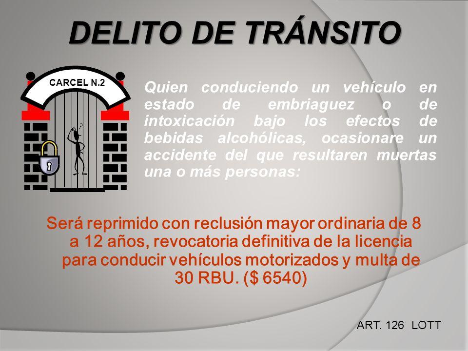 DELITO DE TRÁNSITO CARCEL N.2 Quien conduciendo un vehículo en estado de embriaguez o de intoxicación bajo los efectos de bebidas alcohólicas, ocasion