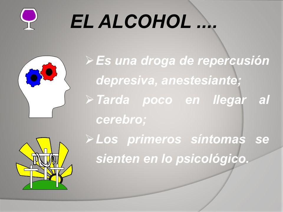 EL ALCOHOL.... Es una droga de repercusión depresiva, anestesiante; Tarda poco en llegar al cerebro; Los primeros síntomas se sienten en lo psicológic