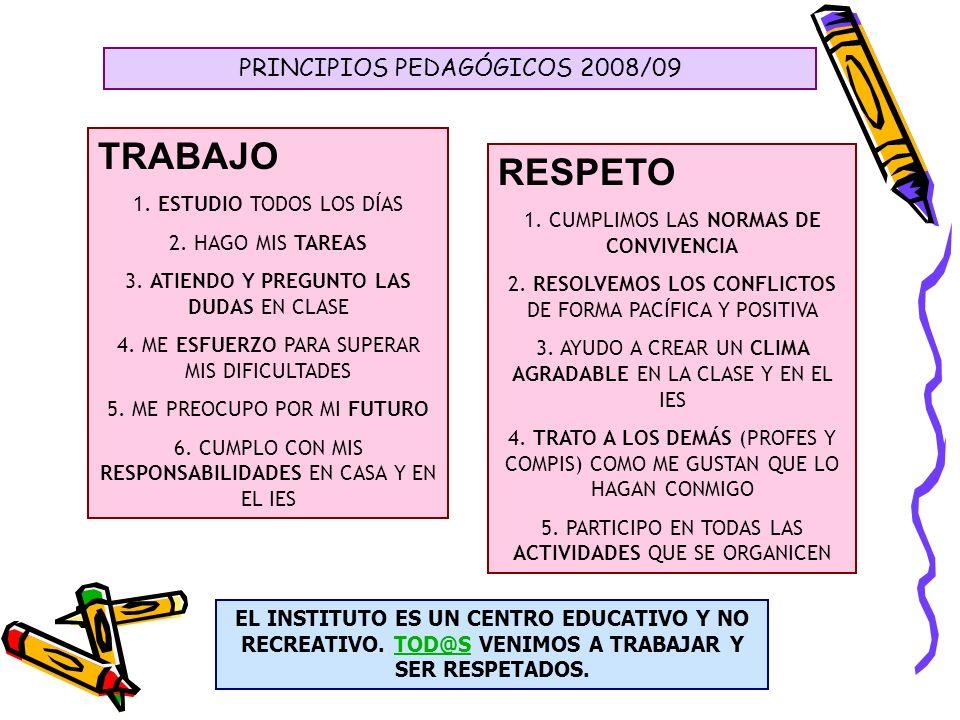 PRINCIPIOS PEDAGÓGICOS 2008/09 TRABAJO 1. ESTUDIO TODOS LOS DÍAS 2. HAGO MIS TAREAS 3. ATIENDO Y PREGUNTO LAS DUDAS EN CLASE 4. ME ESFUERZO PARA SUPER