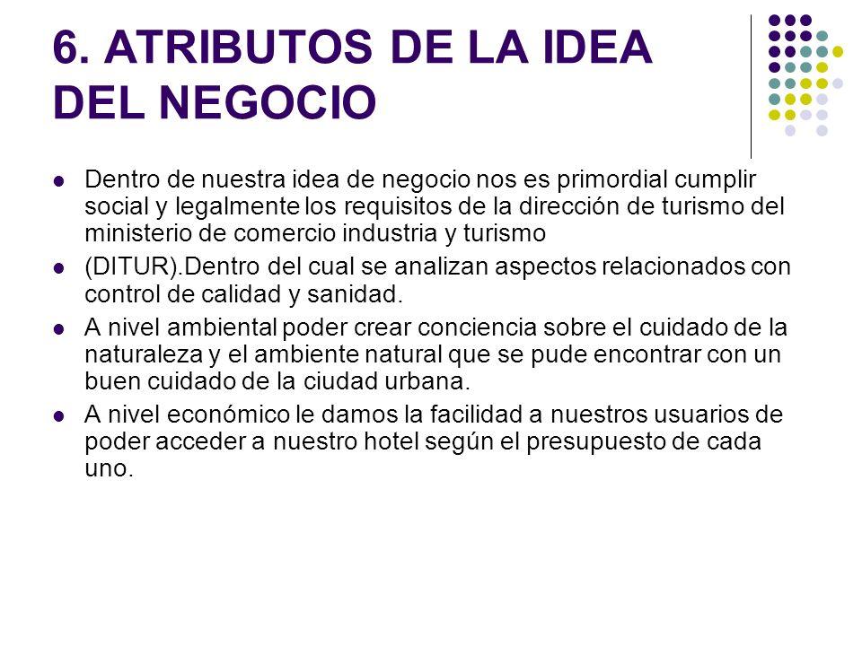 6. ATRIBUTOS DE LA IDEA DEL NEGOCIO Dentro de nuestra idea de negocio nos es primordial cumplir social y legalmente los requisitos de la dirección de