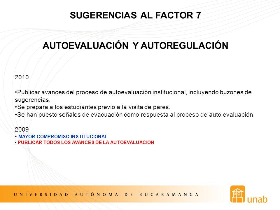 SUGERENCIAS AL FACTOR 7 AUTOEVALUACIÓN Y AUTOREGULACIÓN 2010 Publicar avances del proceso de autoevaluación institucional, incluyendo buzones de suger