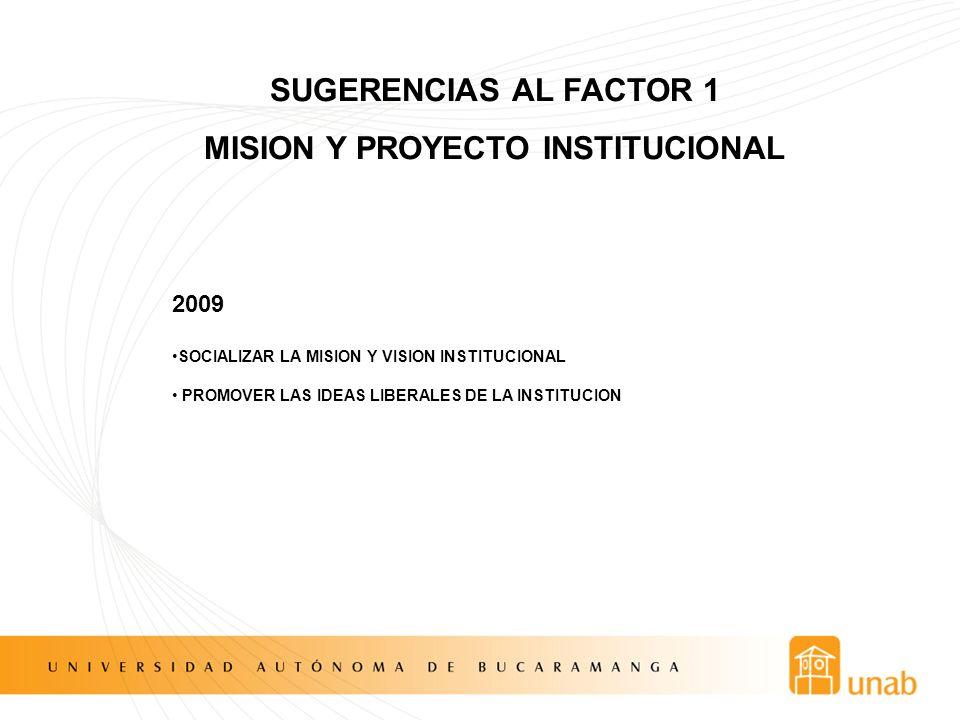 SUGERENCIAS AL FACTOR 1 MISION Y PROYECTO INSTITUCIONAL 2009 SOCIALIZAR LA MISION Y VISION INSTITUCIONAL PROMOVER LAS IDEAS LIBERALES DE LA INSTITUCIO