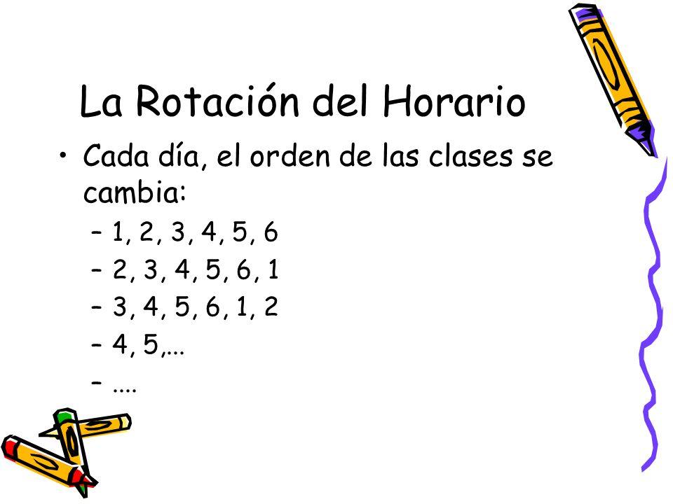 La Rotación del Horario Cada día, el orden de las clases se cambia: –1, 2, 3, 4, 5, 6 –2, 3, 4, 5, 6, 1 –3, 4, 5, 6, 1, 2 –4, 5,...