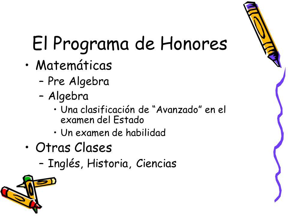 El Programa de Honores Matemáticas –Pre Algebra –Algebra Una clasificación de Avanzado en el examen del Estado Un examen de habilidad Otras Clases –Inglés, Historia, Ciencias